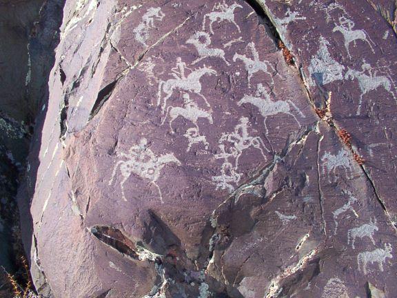 horseback riding, hunting, ancient petroglyphs, Mongolia