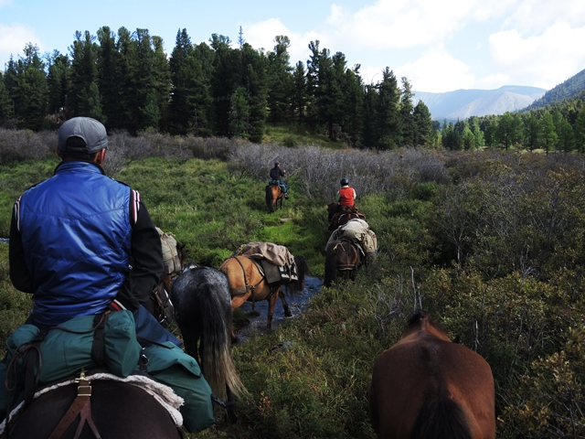 Horse riding in the Khentii Mountains of Mongolia