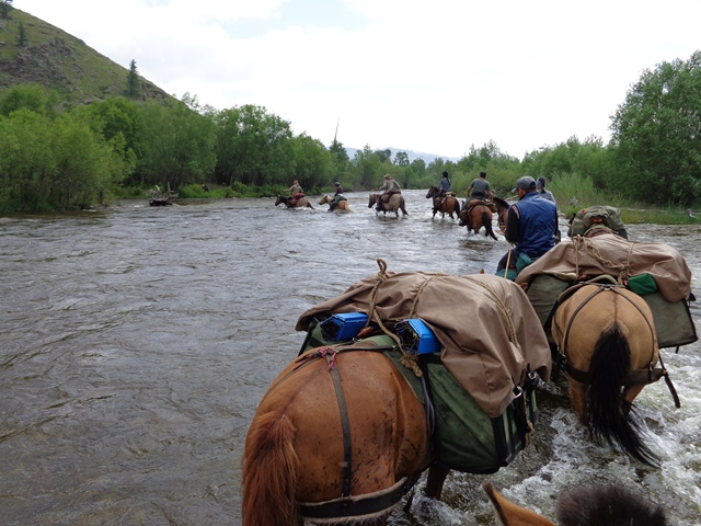 Terelj River in Gorkhi Terelj National Park , a horse pack trip of Stone Horse Expeditions is crossing the river