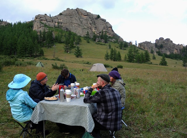 Stone Horse Expeditions in Gorkhi Terelj National Park offer great food and scenery for dinner in camp