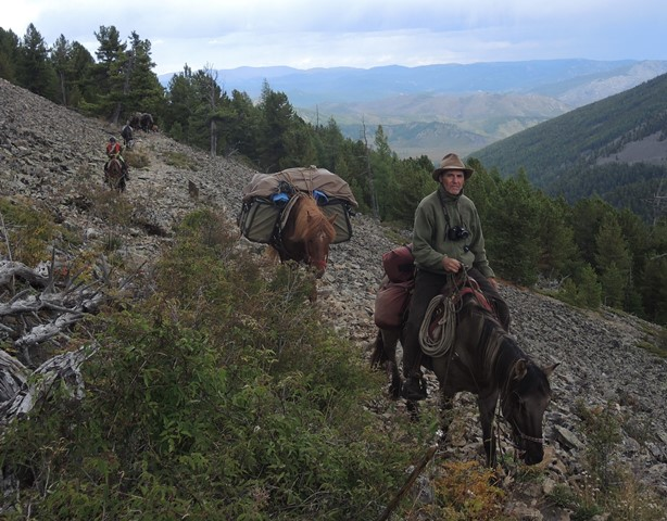 Crossing a high pass in Gorkhi-Terelj National Park, Mongolia, with Stone Horse Expedition's horse riding eco-tour