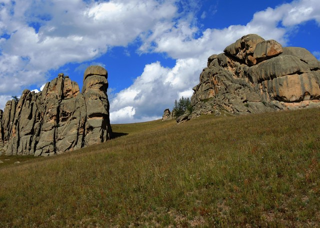 Granite rock formations in Gorkhi Terelj National Park, Mongolia. Stone Horse Expeditions & Travel