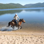 A gallop at the beach. Hagiin Har Nuur. Mongolia