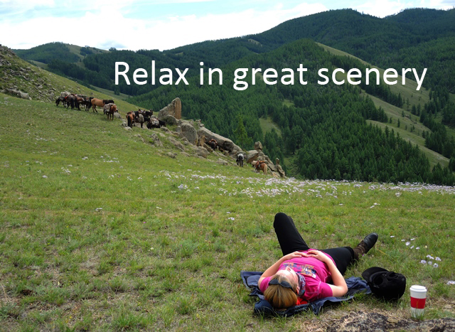Relax in great scenery, horse riding trek Mongolia