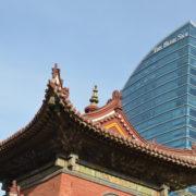 Choijiin Lama Museum, background Blue Sky Tower