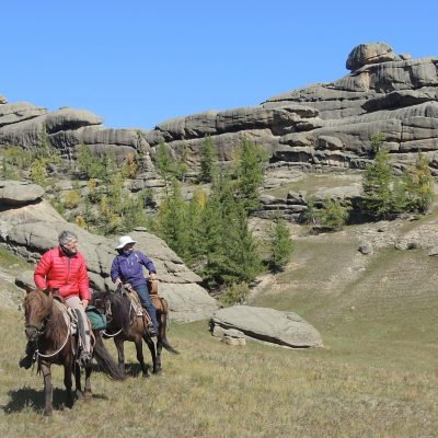 horseback riding in Mongolia's Gorkhi Terelj National Park