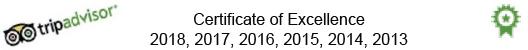 Tripadvisor Certificate of Excellence 2018, 2017, 2016, 2015, 2014, 2013