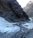 Ice fall and frozen creek in the mountains of Mongolia's South Gobi