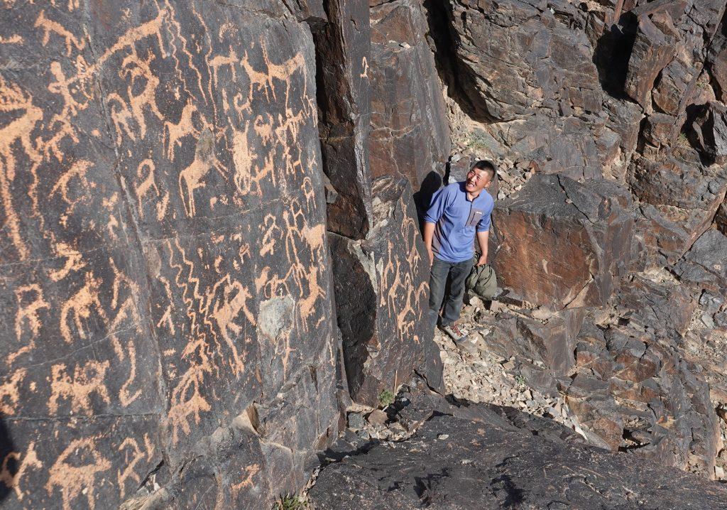 Gobi Crossing, Mongolia's Gobi Desert. Ancient Petroglyphs
